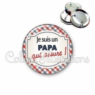 Badge 56mm Papa qui assure (013MUL01)