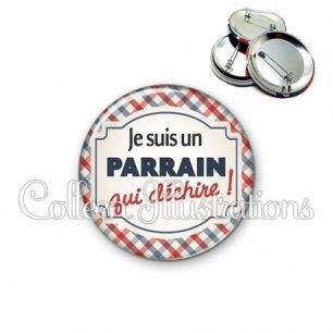 Badge 56mm Parrain qui déchire (013MUL01)