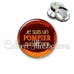 Badge 56mm Pompier qui déchire (013ORA01)