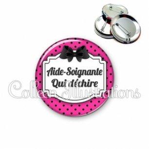 Badge 56mm Aide-soignante qui déchire (013ROS01)