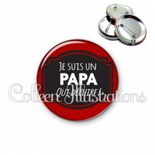 Badge 56mm Papa qui déchire (013ROU01)