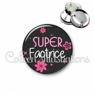 Badge 56mm Super factrice (014GRI02)