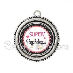 Pendentif résine Super psychologue (007NOI01)