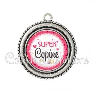 Pendentif résine Super copine (007ROS01)