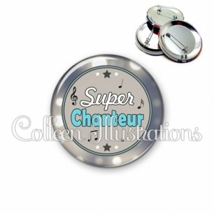Badge 56mm Super chanteur (016GRI01)