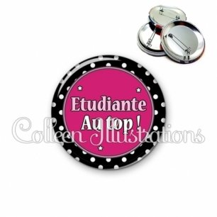 Badge 56mm Etudiant au top (016NOI01)