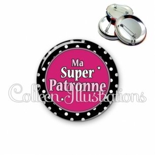 Badge 56mm Super patronne (016NOI01)