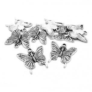 Breloque Papillon argenté 24mm