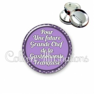 Badge 56mm Future grande chef de la gastronomie française (016VIO03)