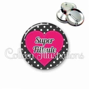 Badge 56mm Super filleule (015NOI01)