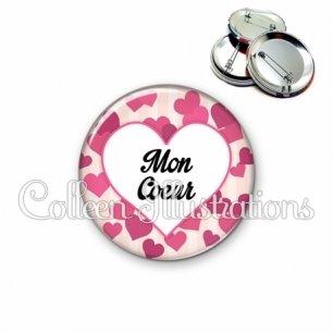 Badge 56mm Mon cœur (015ROS03)