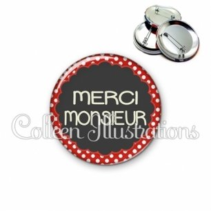 Badge 56mm Merci monsieur (017ROU03)