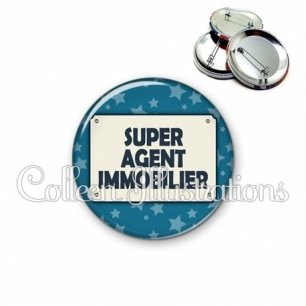 Badge 56mm Super agent immobilier (018BLE01)