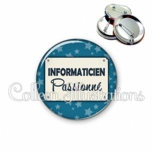 Badge 56mm Informaticien passionné (018BLE01)