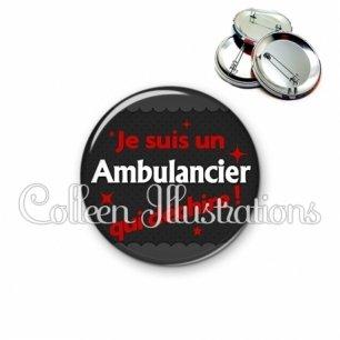 Badge 56mm Ambulancier qui déchire (019GRI02)