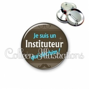 Badge 56mm Instituteur qui déchire (019MAR01)