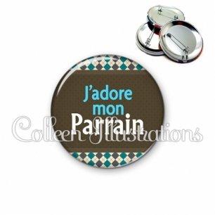Badge 56mm J'adore mon parrain (019MUL01)