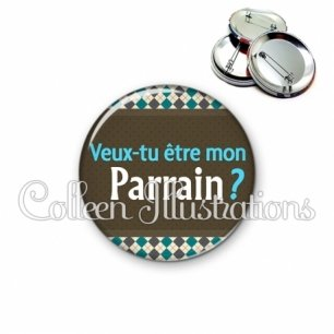 Badge 56mm Veux-tu être mon parrain (019MUL01)