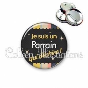 Badge 56mm Parrain qui déchire (019MUL04)
