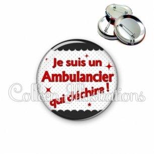 Badge 56mm Ambulancier qui déchire (019NOI01)