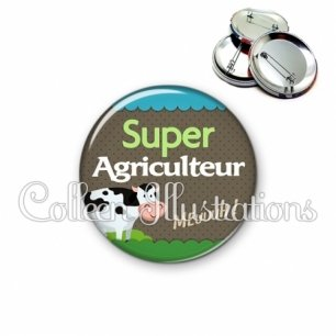 Badge 56mm Super agriculteur (019VER01)