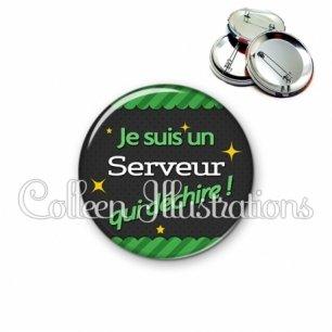 Badge 56mm Serveur qui déchire (019VER02)