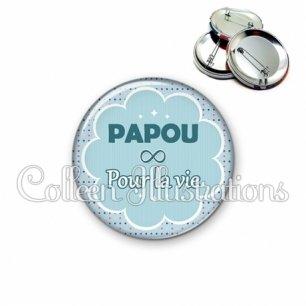Badge 56mm Papa pour la vie (020BLE02)
