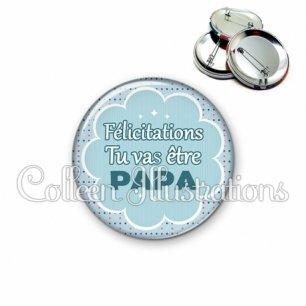 Badge 56mm Tu vas être papa (020BLE02)