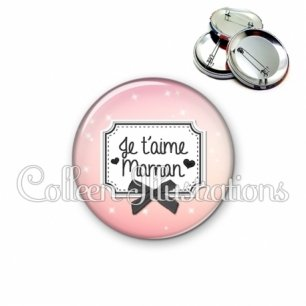 Badge 56mm Je t'aime maman (023ROS02)