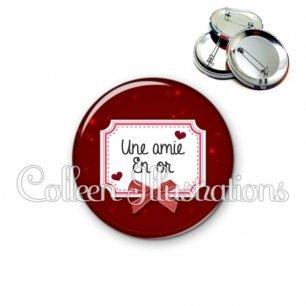 Badge 56mm Amie en or (023ROU01)