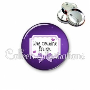 Badge 56mm Cousine en or (023VIO02)