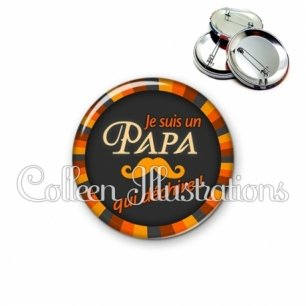 Badge 56mm Papa qui déchire (027ORA01)