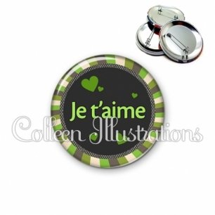 Badge 56mm Je t'aime (027VER01)