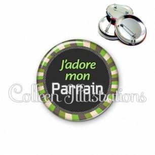 Badge 56mm J'adore mon parrain (027VER01)