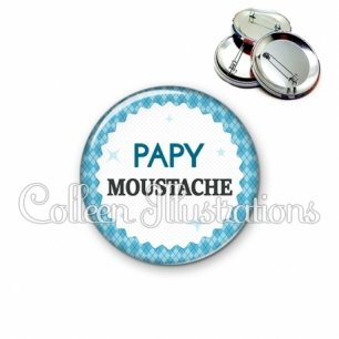 Badge 56mm Papy moustache (028BLE03)