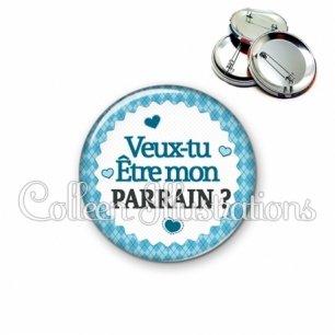 Badge 56mm Veux-tu être mon parrain (028BLE03)