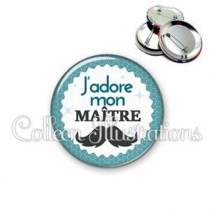 Badge 56mm J'adore mon maître (028BLE04)