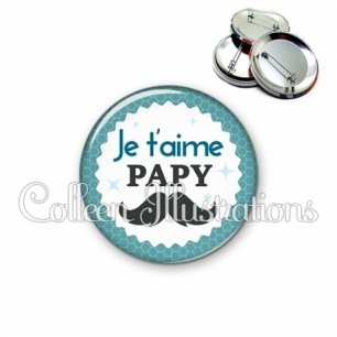 Badge 56mm Papy je t'aime (028BLE04)