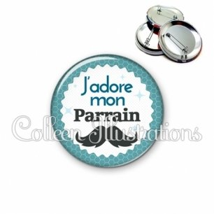 Badge 56mm J'adore mon parrain (028BLE04)