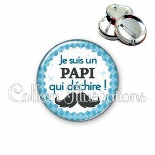 Badge 56mm Papi qui déchire (028BLE06)