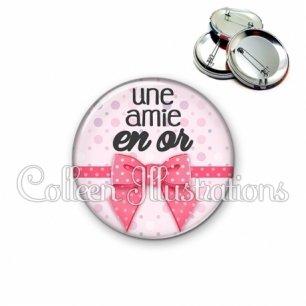 Badge 56mm Amie en or (029ROS01)