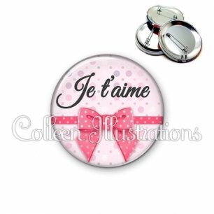Badge 56mm Je t'aime (029ROS01)
