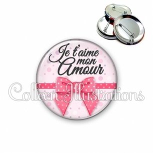 Badge 56mm Je t'aime mon amour (029ROS01)