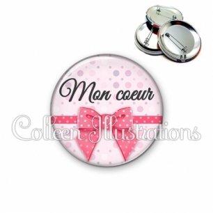 Badge 56mm Mon cœur (029ROS01)