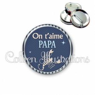 Badge 56mm Papa on t'aime (031BLE06)