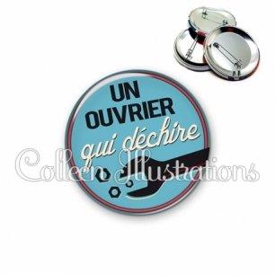 Badge 56mm Ouvrier qui déchire (032BLE02)