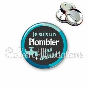 Badge 56mm Plombier qui déchire (034BLE02)