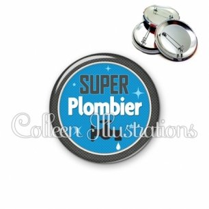 Badge 56mm Super plombier (034BLE03)