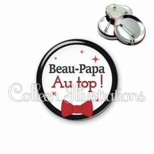 Badge 56mm Beau-papa au top (036NOI01)
