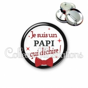 Badge 56mm Papi qui déchire (036NOI01)